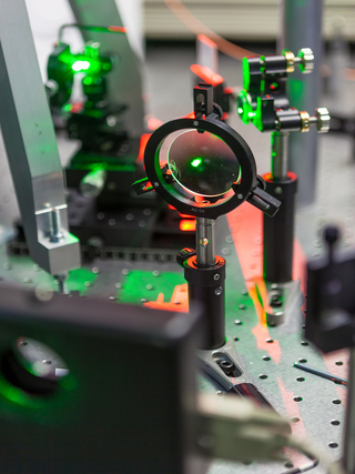 the study of lasers on the test bench in the science lab optical testing