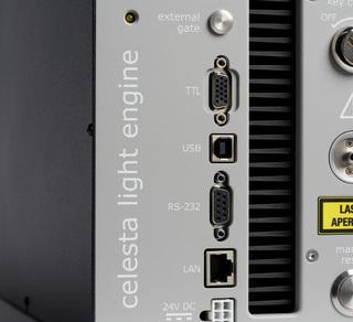 Lumencor's Celesta Laser Light Engine, button detail